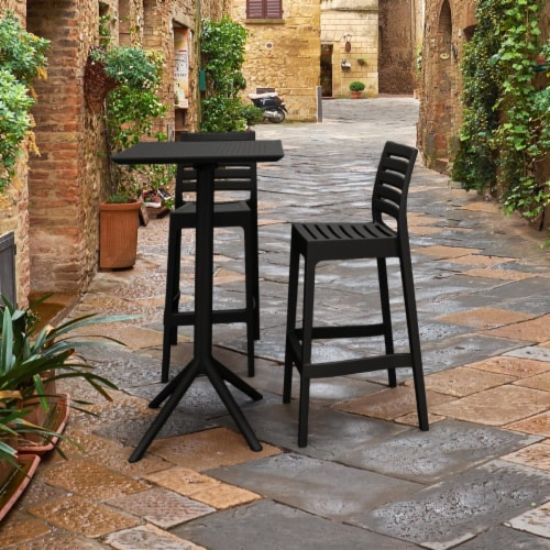 Siesta ISP1161S-BLA Sky Ares Square Bar Set with 2 Barstools  Black Perspective: front