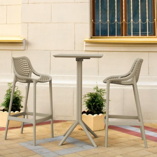 Siesta ISP1162S-DVR Sky Air Square Bar Set with 2 Barstools  Taupe Perspective: front