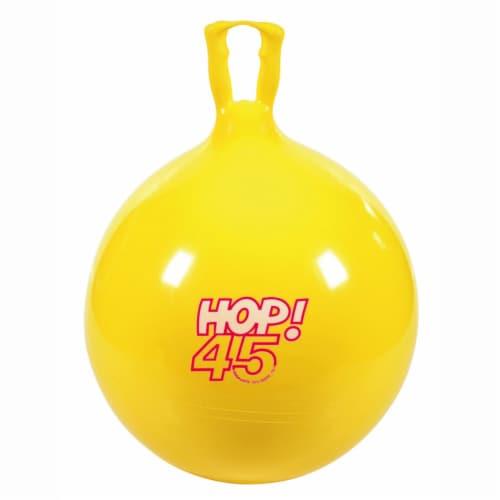 "Gymnic Children's Bouncing Hop 45 Ball Yellow 18"" diameter Perspective: front"