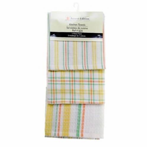 Mr. MJs Trading AG-34624 3 Piece Tea Towels Set, Lemon Plaid Perspective: front