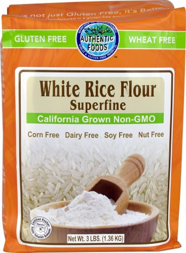 Authentic Foods  White Rice Flour Superfine Gluten Free Perspective: front