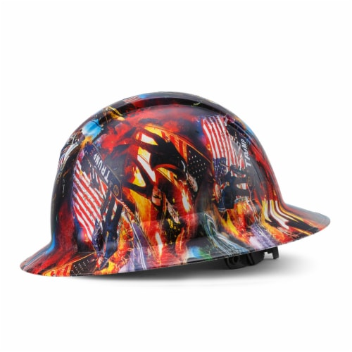 AcerPal 1PD1WH6M Full Brim Customized Pyramex Action Trump Maga Design Hard Hat Perspective: front