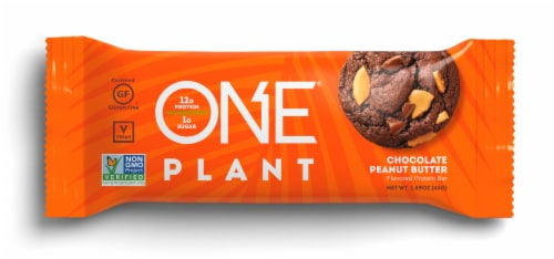 ONE Bar Plant Chocolate Peanut Butter Protein Bar Perspective: front
