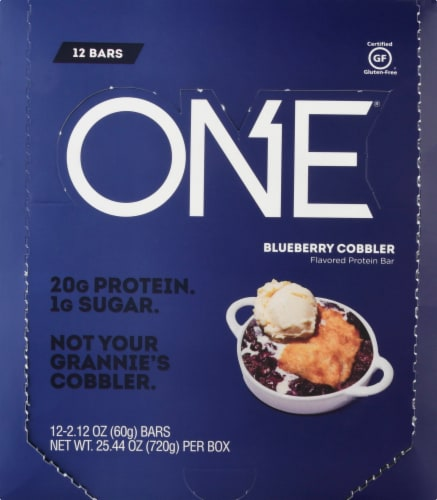 ONE Gluten Free Blueberry Cobbler Protein Bars 12 Count Perspective: front