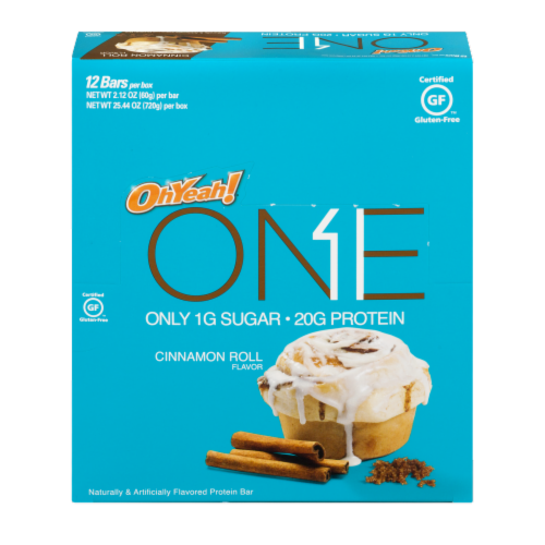 Oh Yeah One Cinnamon Roll Flavor Protein Bars 12 Count Perspective: front