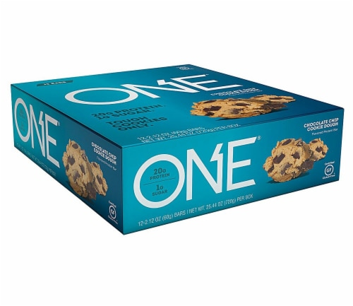 ONE Chocolate Chip Cookie Dough Protein Bars 12 Count Perspective: front
