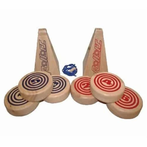 Rollors Outdoor All Wood Game Combining Bocce, Horseshoes and Bowling Perspective: front