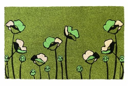 Entryways Green Tulips Coir Doormat - Green/Black Perspective: front