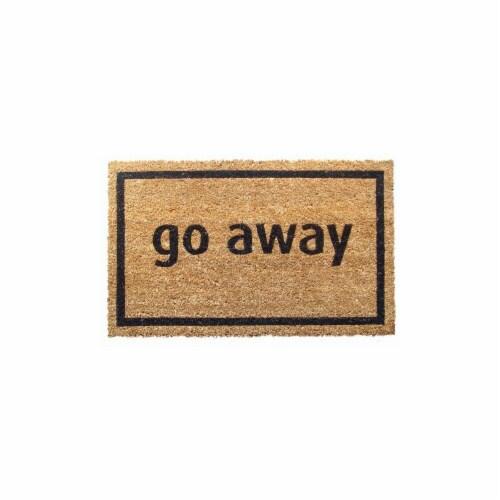 Entryways P689 Go Away Black Non Slip Coir Doormat Perspective: front