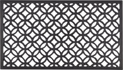 Entryways Circle Chains Recycled Rubber Doormat - Black Perspective: front