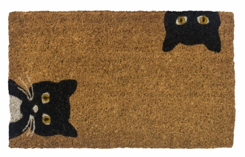 Entryway Peeping Cats Coir Doormat - Tan/Black Perspective: front