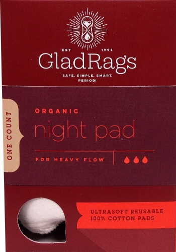 GladRags Organic Undyed Reusable Cotton Night Pads Perspective: front