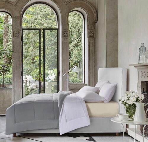 Blue Ridge Microfiber Reversible Down Alternative Comforter - White/Platinum Perspective: front