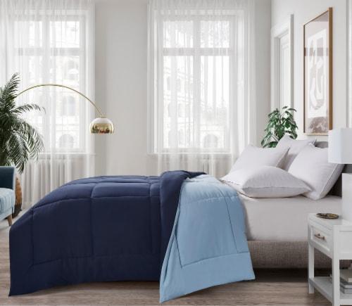 Microfiber Reversible Down Alternative Comforter - Navy / Light Blue - Queen Perspective: front