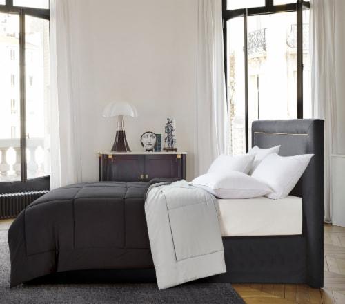 Microfiber Reversible Down Alternative Comforter - Black / Platinum, Full / Queen Perspective: front