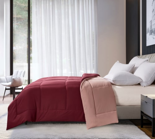 Microfiber Reversible Down Alternative Comforter - Burgundy / Mauve, King Perspective: front