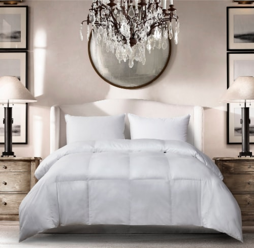 Microfiber All Season Down Alternative Comforter - Full / Queen, White Perspective: front