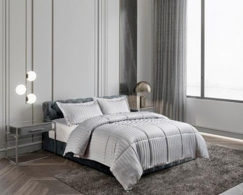 Kathy Ireland Essentials Microfiber Damask Stripe 3 Pc Reversible Dwn Alt. Comforter Set - Twin Perspective: front