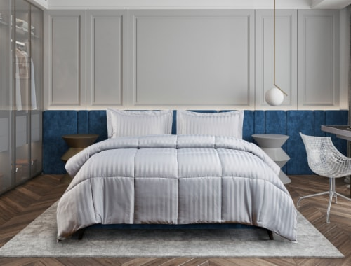Kathy Ireland Essentials Microfiber Damask Stripe 3 Pc Reversible Down Alt Comforter Set - Queen Perspective: front
