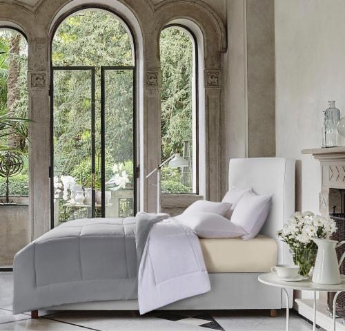 Kathy Ireland Essentials Microfiber Damask Stripe 3 pc Reversible Down Alt Comforter Set - King Perspective: front