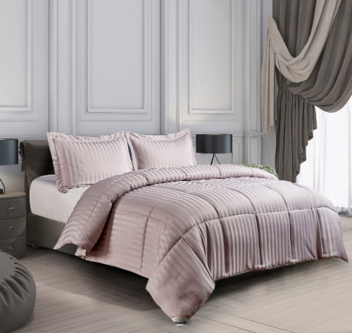Kathy Ireland Essentials Microfiber Damask Strip 3 pc Reversible Down Alt Comforter Set  - Twin Perspective: front