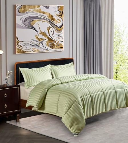 Kathy Ireland Home Damask Stripe Reversible Comforter Set - 3 Piece Perspective: front