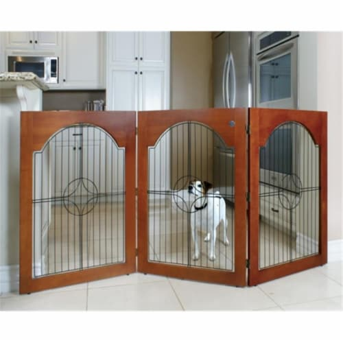 Majestic Pet 788995041139 Universal Free Standing Pet Gate Wire Insert and Cherry Stain Perspective: front