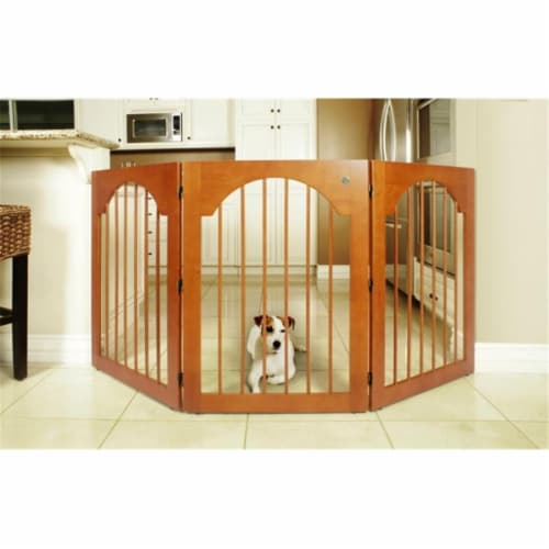 Majestic Pet 788995041146 Universal Free Standing Pet Gate Wood Insert and Cherry Stain Perspective: front