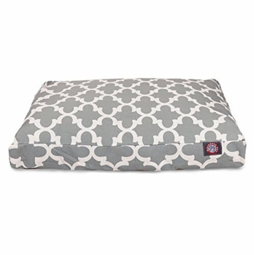 MajesticPet 788995500834 29 x 36 in. Trellis Rectangle Pet Bed, Grey Perspective: front