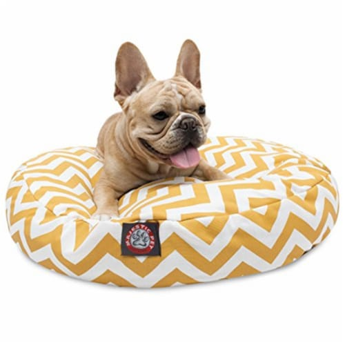 MajesticPet 788995506256 30 in. Zig Zag Round Pet Bed, Yellow - Small Perspective: front