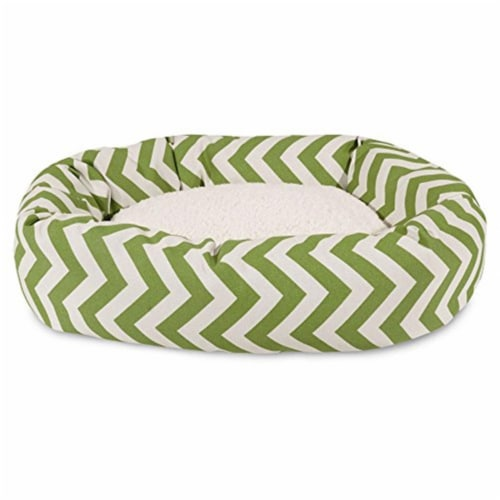 MajesticPet 788995546245 52 in. Zig Zag Sherpa Donut Pet Bed, Sage Perspective: front