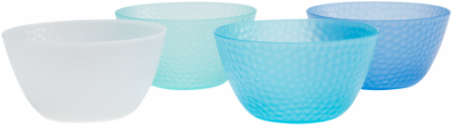 TarHong Cool Hammered Cereal Bowl Set - 4 pk - Blue/White Perspective: front