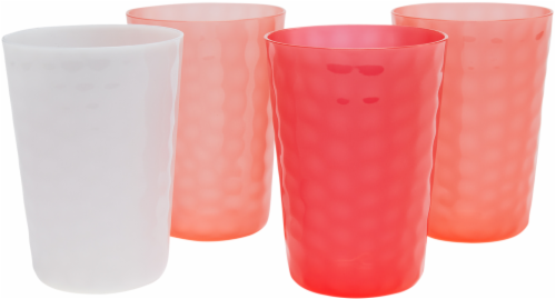 TarHong Warm Hammered Juice Tumbler - 4 pk - Red/White Perspective: front