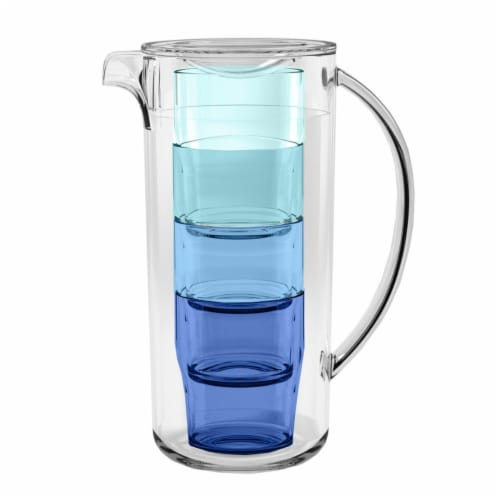 Tarhong PTRPI910PLTS 91 oz Simple Stacked Nested Pitcher Perspective: front