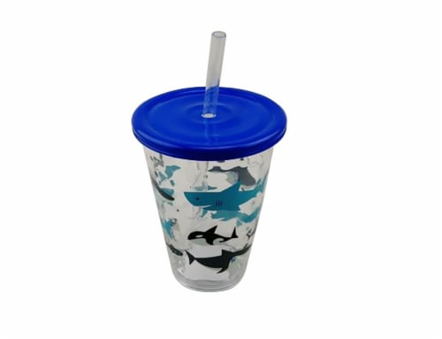 TarHong Sharks Acrylic Tumbler with Lid Perspective: front