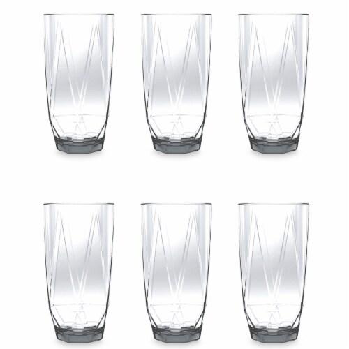 TarHong PPMJM220PJCR 22 oz Prism Jumbo Glass Clear - Premium Plastic - Set of 6 Perspective: front