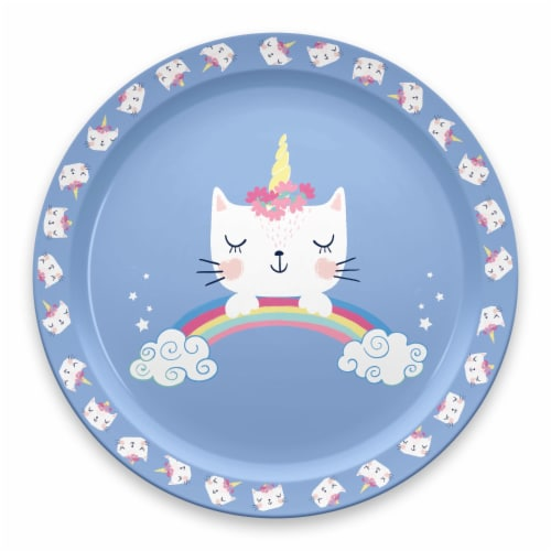 TarHong Unicat Rimmed Plate - Blue Perspective: front