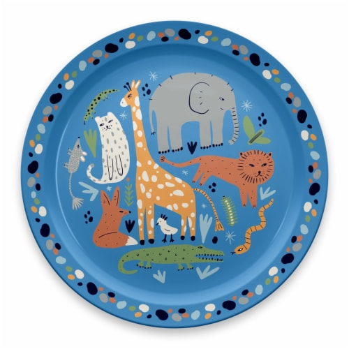 TarHong Jungle Animals Rimmed Plate - Blue Perspective: front