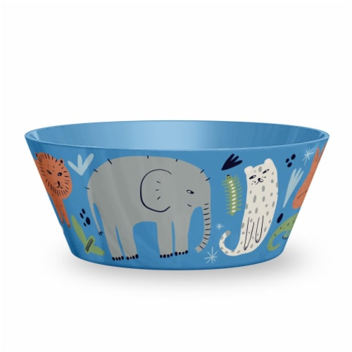TarHong Jungle Animals Cereal Bowl - Blue Perspective: front