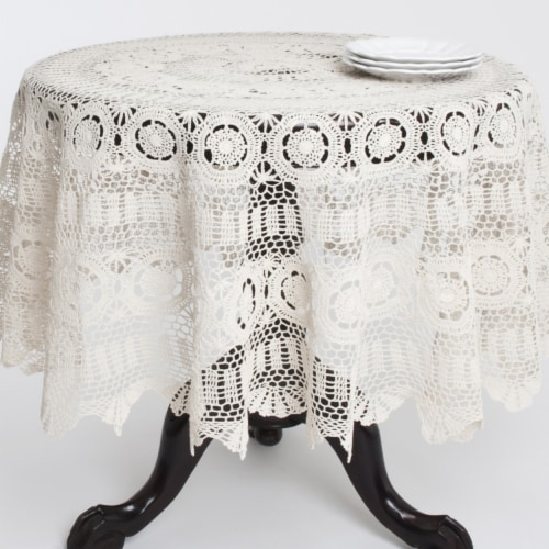 Saro Lifestyle 869.E45R 45 in. Round Handmade Crochet Cotton Lace Table Linens - Ecru Perspective: front