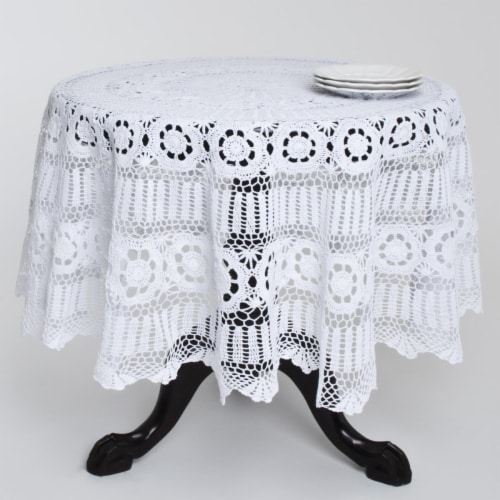 SARO 869.W36R 36 in. Round Handmade Crochet Cotton Lace Table Linens - White Perspective: front