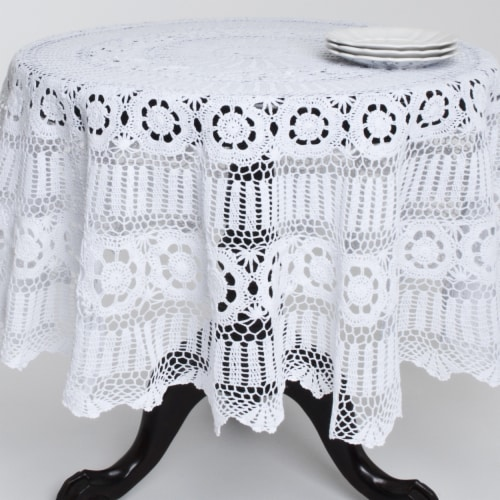 SARO 869.W45R 45 in. Round Handmade Crochet Cotton Lace Table Linens - White Perspective: front