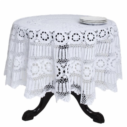 SARO 869.W72R 72 in. Galucia Round Handmade Crochet Cotton Lace Table Linens - White Perspective: front