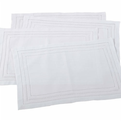 Saro Lifestyle 9001.W1420B 14x20in Rectangle Linen Blend Hemstitch Placemats-White, Set of 4 Perspective: front