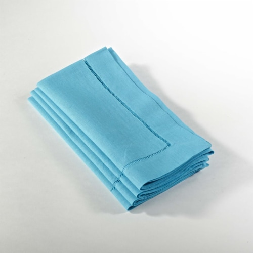 Saro Lifestyle 20 in Everyday Square Hemstitched Dinner Napkin Turquoise, Set of 4 Perspective: front