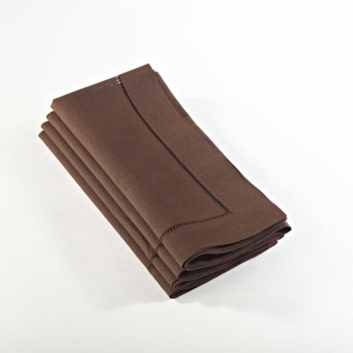 SARO 6100C.CT20S 20 in. Everyday Square Hemstitched Dinner Napkin - Chocolate  Set of 4 Perspective: front