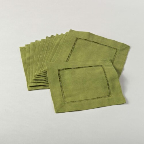 SARO 6100C.LM6S 6 in. Everyday Square Hemstitch Cocktail Napkin - Lime  Set of 12 Perspective: front