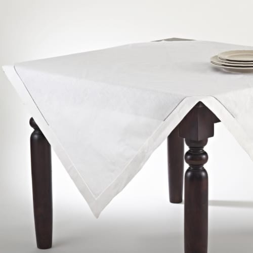 SARO 6100.E90S 90 in. Toscana Square Hemstitched Linen Blend Tablecloth - Ecru Perspective: front