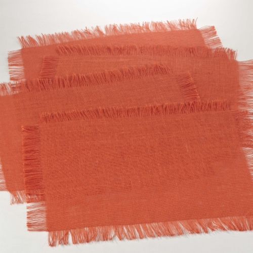 Saro Lifestyle JU209.TG1319B 13 x 19 in. Rectangle Fringed Jute Design Placemat - Tangerine Perspective: front