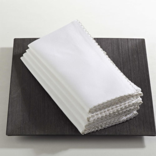 SARO 1442.R20S 20 in. Square Whip Stitched Napkin - Red  Set of 4 Perspective: front